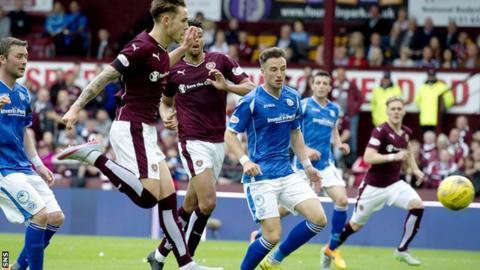 Sam Nicholson scores Hearts' winning goal