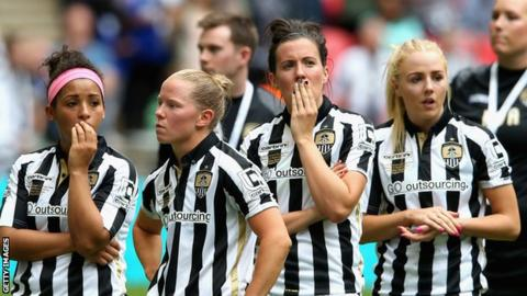 Notts County Ladies players after losing the 2015 Women's FA Cup final at Wembley