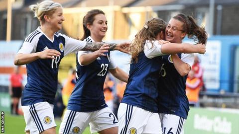 Scotland celebrate Christie Murray's late winner at Stark's Park