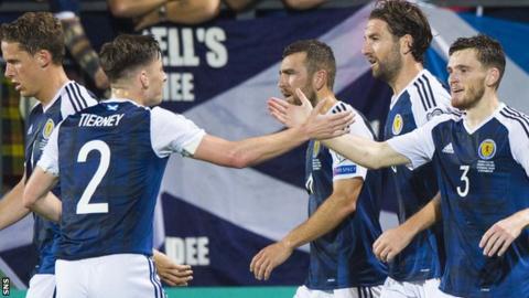 Scotland full-backs Kieran Tierney and Andy Robertson shake hands