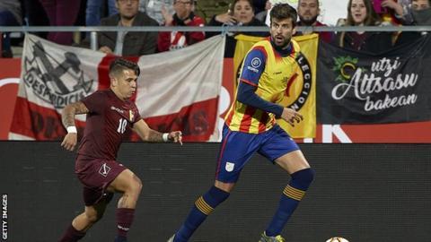 Pique plays as Catalonia beat Venezuela in friendly