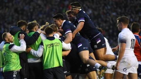 Scotland celebrate scoring against England