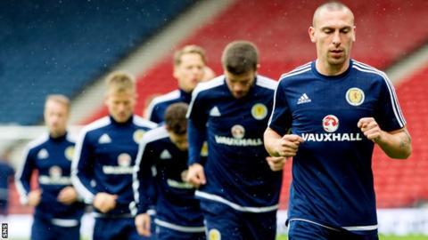 Scotland captain Scott Brown in training
