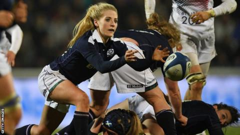 Jenny Maxwell playing for Scotland Women