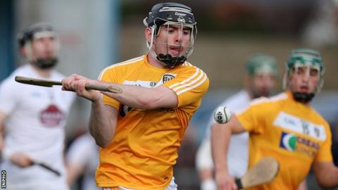 This strike from Antrim forward Ciaran Clarke would finish finish in Kildare net
