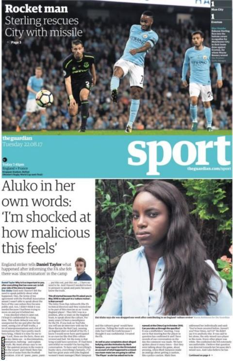 The Guardian feature Eni Aluko's interview on bullying claims