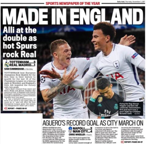 Daily Mail back page on Thursday