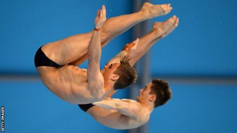 Tom Daley and Dan Goodfellow in action for Great Britain