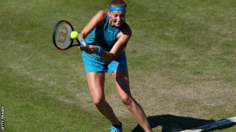 Petra Kvitova comes from a set down to defend the title