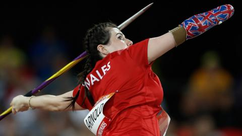 Wales Hollie Arnold competes in the athletics women's F46 javelin throw final during the 2018 Gold Coast Commonwealth Games at the Carrara Stadium on the Gold Coast on April 9, 2018.