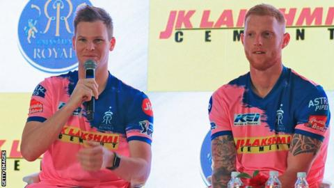 Steve Smith (left) and Ben Stokes (right) address the media at the unveiling of the 2019 Rajasthan Royals Indian Premier League team