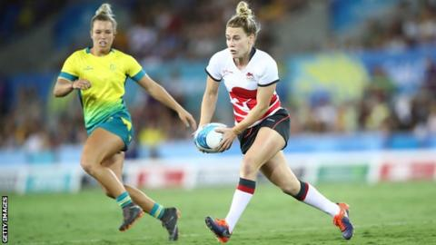 England's Megan Jones in Commonwealth Games rugby sevens action