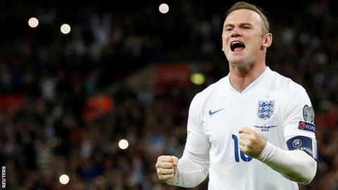 Wayne Rooney celebrates becoming England's all-time record goalscorer