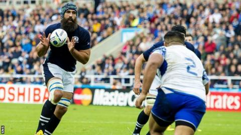 Josh Strauss playing for Scotland against Samoa