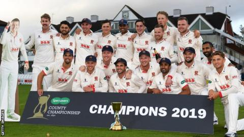 Essex celebrate winning the 2019 County Championship