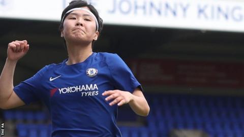 Ji So-Yun celebrates scoring against Liverpool