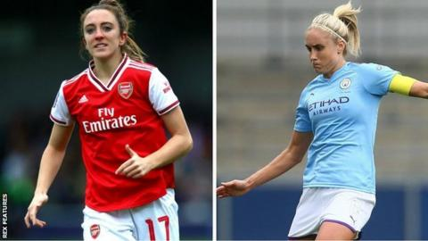 Arsenal winger Lisa Evans (left) first got to the Champions League last 16 with Glasgow City, while Man City defender Steph Houghton has twice been a semi-finalist