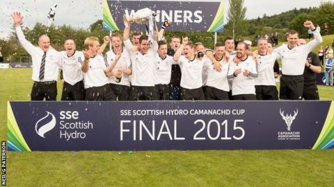 Lovat celebrate winning the Camanachd Cup