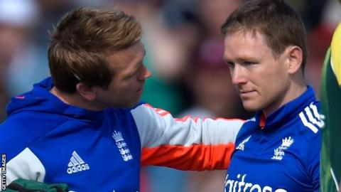 England one-day captain Eoin Morgan receives treatment after being hit on the head