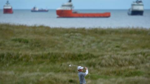 ABERDEEN, SCOTLAND - JUNE 20: Angus Flanagan of St Georges Hill plays his second shot to the 13th hole during the third day of The Amateur Championship at Royal Aberdeen on June 20, 2018 in Aberdeen, Scotland. (Photo by Mark Runnacles/R&A/R&A via Getty Images)