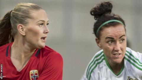 Lisa Marie Utland of Norway in action against Northern Ireland's Kerry Montgomery
