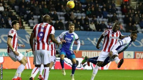Wigan centre-half Chey Dunkley went close at the DW Stadium against Stoke with a first-half header
