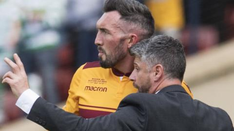 Motherwell's Ryan Bowman and manager Stephen Robinson