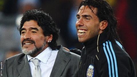 Diego Maradona and Carlos Tevez