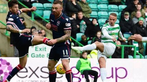 Leigh Griffiths takes a shot for Celtic against Ross County