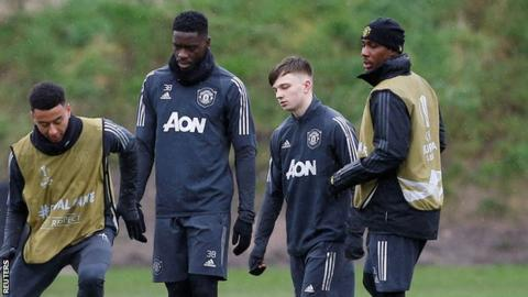 (lLeft to right) Manchester United's Jesse Lingard, Axel Tuanzebe, Connor Stanley and Odion Ighalo
