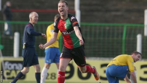 Ciaran Caldwell celebrates scoring Glentoran's second goal against Ballymena at the Oval