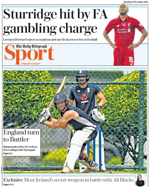 Telegraph sport section on Tuesday