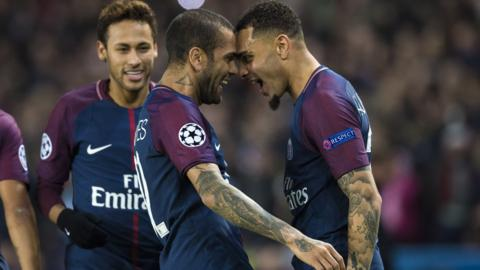 PSG's Dani Alves celebrates