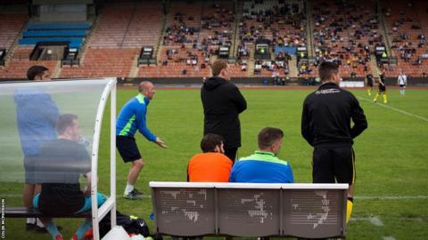 The away dugout at Meadowbank Stadium