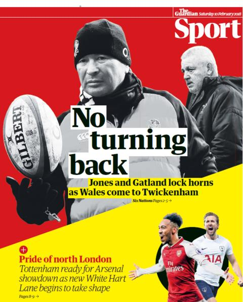 The Guardian sport section on Saturday