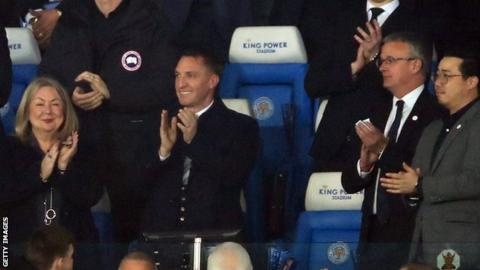 Brendan Rodgers in the stand at Leicester City