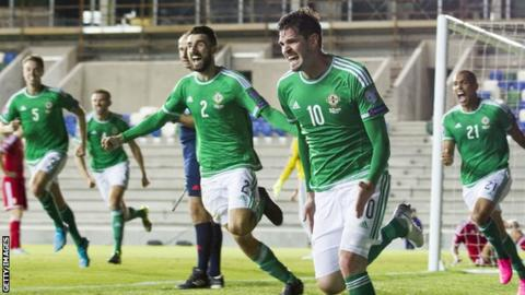 Kyle Lafferty picked up his third booking of the Group F campaign