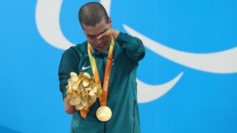 Daniel Dias shows emotion on the podium