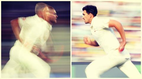 Stuart Broad & Mitchell Starc race in to bowl