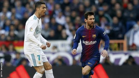 Lionel Messi and Cristiano Ronaldo in action