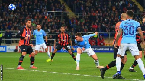 Aymeric Laporte heads Manchester City's second goal against Shakhtar Donetsk