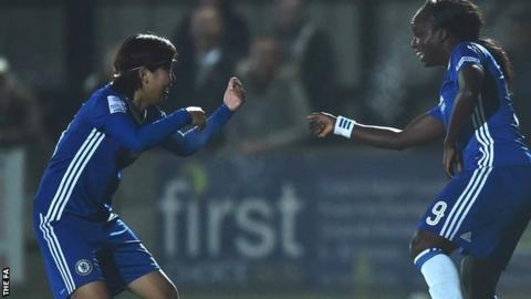 Eniola Aluko celebrates her goal for Chelsea