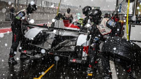 STAVELOT, BELGIUM - MAY 4: The #08 Toyota Gazoo Racing TS050 Hybrid of Sebastien Buemi, Kazuki Nakajima, and Fernando Alonso makes a pit stop as snow falls at the WEC Six Hours of Spa on May 4, 2019 in Stavelot, Belgium. (Photo by James Moy Photography/Getty Images)