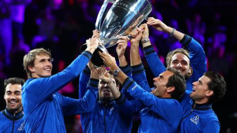 Team Europe celebrate their Laver Cup win over Team World