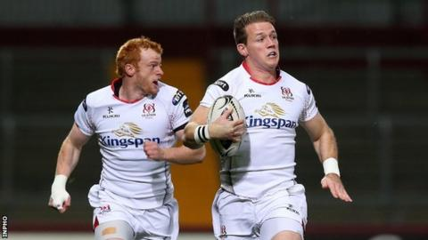 Craig Gilroy runs in for Ulster's opening try against Munster in Thomond Park
