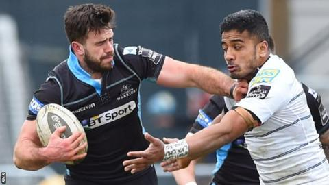 Glasgow Warriors centre Alex Dunbar (left) in action against Cardiff Blues
