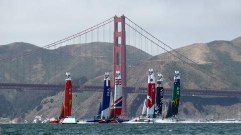 SAN FRANCISCO, CALIFORNIA - MAY 04: Teams from France, Great Britain, the United States, China, Australia, and Japan race against each other during Day 1 of SailGP in the San Francisco Bay on May 04, 2019 in San Francisco, California. (Photo by Ezra Shaw/Getty Images)