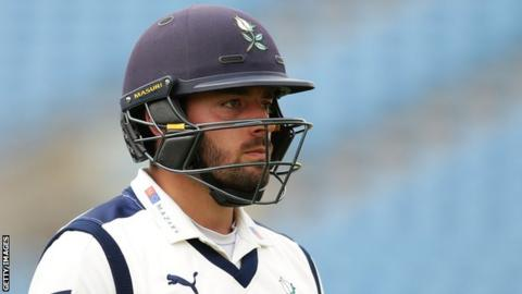Jack Leaning hit eight fours in his 68 in Yorkshire's second innings against Somerset