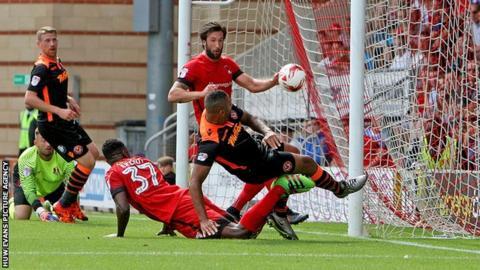 Jamie Turley scores for Newport