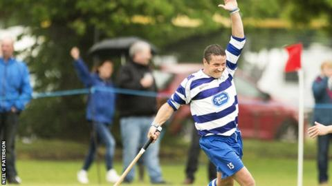 Newtonmore's Glen MacKintosh celebrates his winning goal